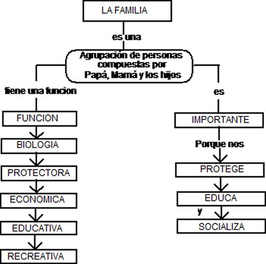 MAPA CONCEPTUAL DE LAS FUNCIONES DE LA FAMILIA